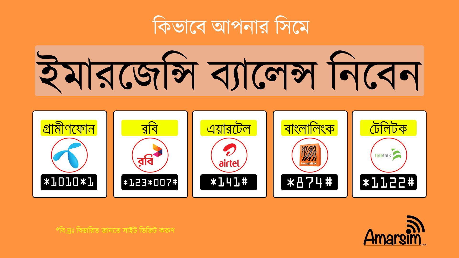 How to Get Emergency Balance of GP, Robi, Airtel, Teletalk and Banglink