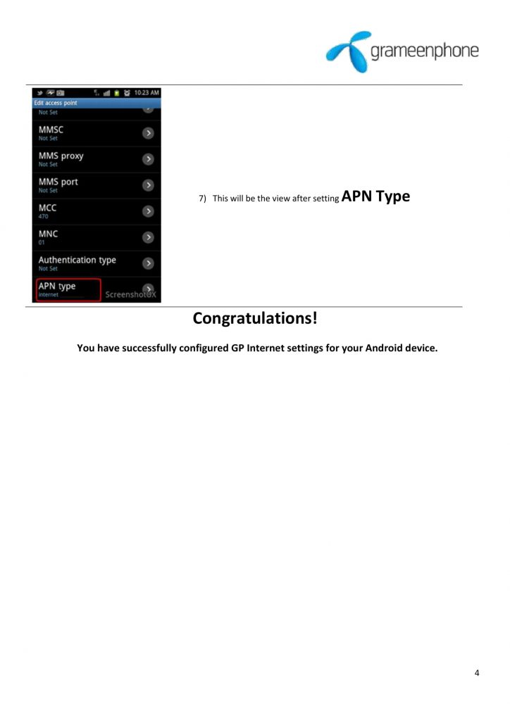 GP Internet Settings For Android device