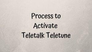 Process to activate Teletalk Teletune