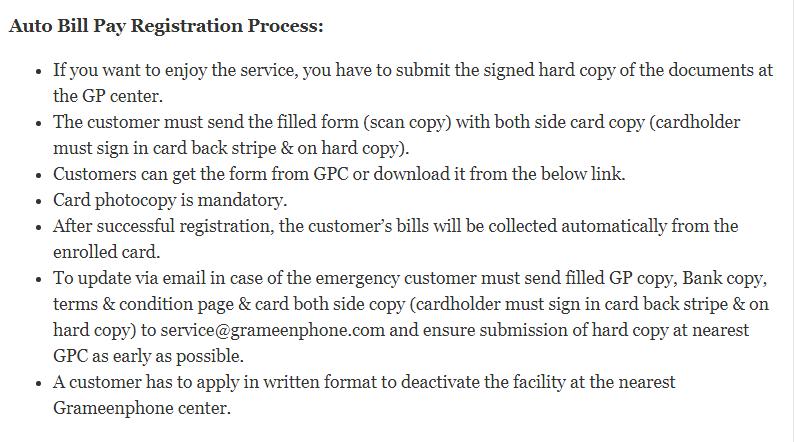 auto pay bill registratioion process